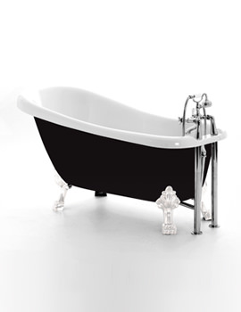 Chatsworth Black Slipper Bath 1530 x 710mm With Chrome Feet