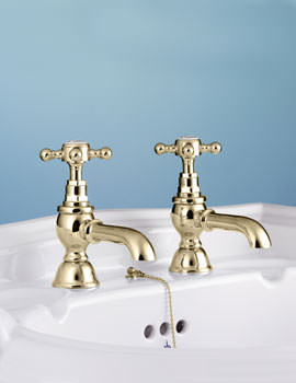Victorian Incalux Pair Of Basin Pillar Taps - VCTBS2THINC