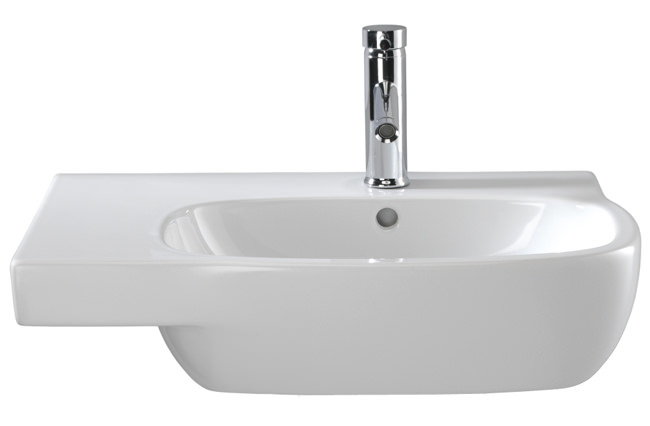 Large Image of Twyford Moda Washbasin With Left Hand Shelf Space 650 x 460mm