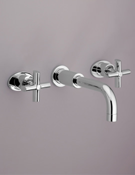 Highgrove 3 Taphole Wall Mounted Basin Mixer Tap Chrome