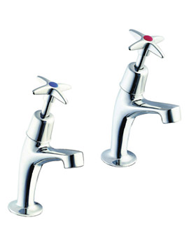 Twyford Sola High Neck Cross Head Pillar Taps - SF2203CP