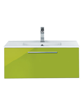 Image of Balterley Wall Hung 600mm Glacier Gloss Green Vanity Unit And Basin