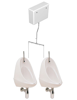 Camden 2 Urinal Set With Exposed Flush Pipe And Cistern