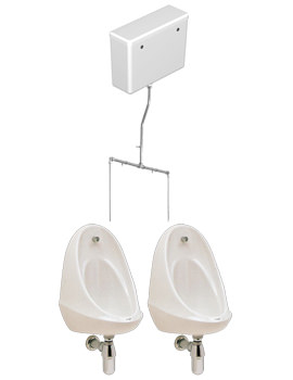 Camden 2 Urinal Set With Concealed Flush Pipe And Cistern