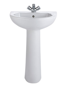 Related Twyford Option 1 Tap Hole Washbasin With Pedestal 550 x 450mm