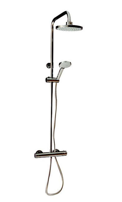 Large Image of Tre Mercati Round Exposed Thermostatic Shower Valve With Shower Set