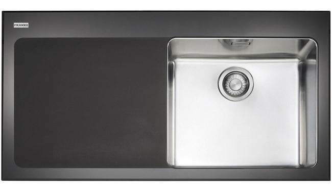 Franke Black Glass Sink : Image of Franke Kubus KBV 611 Black Glass 1.0 Bowl Inset Kitchen Sink