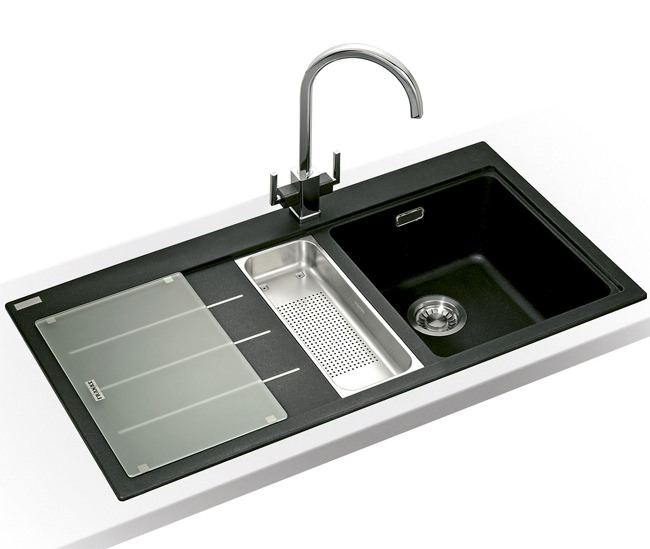 Large Image of Franke Mythos Fusion Designer Pack MTF 651-100 Fragranite Onyx Sink And Tap