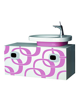 Laufen Mimo 1000mm Vanity Unit For RH Basin-White With Pink Graphics