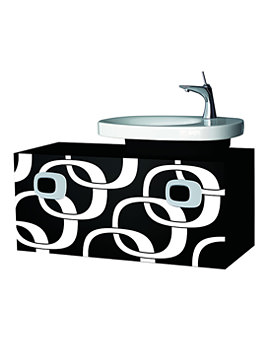 Mimo 1000mm Vanity Unit For RH Basin-Black With White Graphics