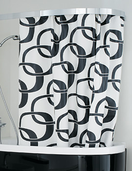 Laufen Mimo Shower Curtain 2200 x 1700mm - Textile White And Black