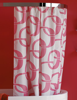 Laufen Mimo Shower Curtain 2200 x 1700mm - Textile White And Pink