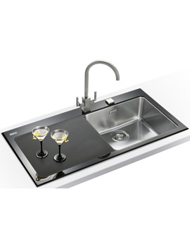 Related Franke Kubus Designer Pack KBV 611 Black Glass Inset Sink And Tap