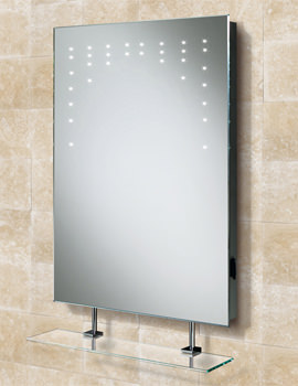 Rain LED Bathroom Mirror With Glass Shelf And Shaver Socket