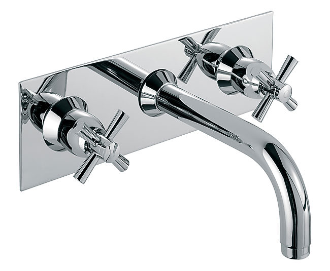 Large Image of Tre Mercati Faro Wall Mounted 3 Hole Basin Mixer Tap With Crosshead