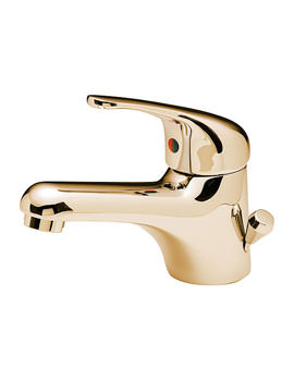 Modena Mono Basin Mixer Tap With Side Pop Up Waste Gold