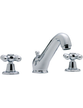 Tre Mercati Victoria 3 Hole Basin Mixer Tap With Pop Up Waste Chrome