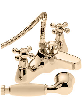 Victoria Deck Mounted Bath Shower Mixer Tap With Kit Gold