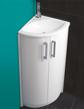 HIB Solo White Corner Vanity Unit And Basin 625 x 820mm