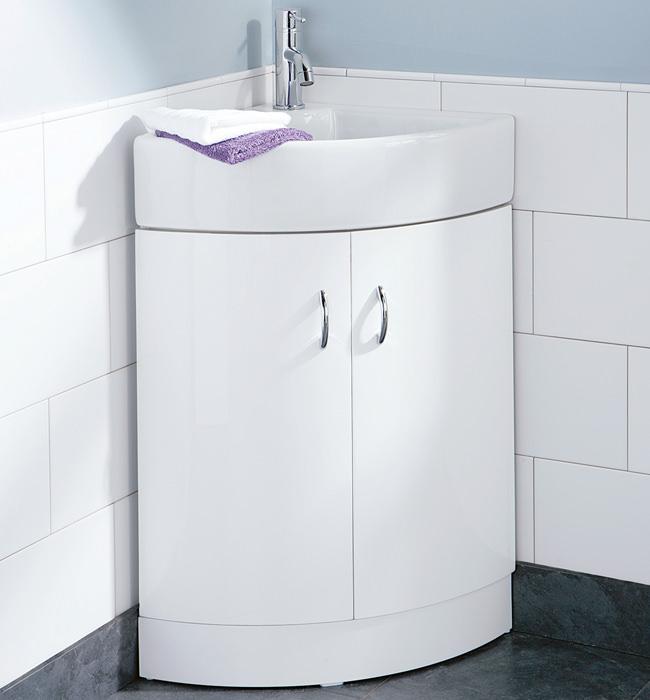 image of hib denia curved corner vanity unit and washbasin