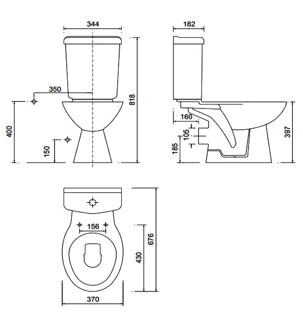 Technical Image of Beo Pitta Standard WC Pan With Cistern Soft Close ...
