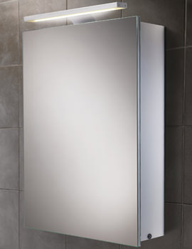 Orbital Steam Free Aluminium Mirrored Cabinet With LED Over-light