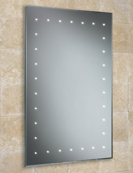 Solar Bevelled Edge Bathroom Mirror With LED Border 500 x 720mm