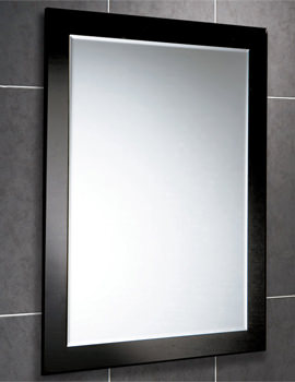 Dalia Rectangular Bevelled Mirror On Black Glass Frame