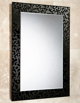 Flora Rectangular Bevelled Mirror On Black Glass Patterned Frame
