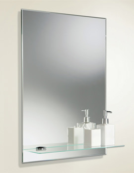 Delby Rectangular Bevelled Edge Mirror With Glass Shelf 500 x 700mm