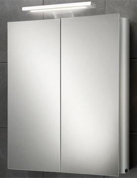 HIB Atomic Double Door Aluminium Mirrored Cabinet With LED Over-light