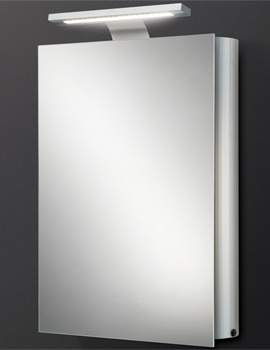 Electron Single Door Aluminium Mirrored Cabinet With LED Over-light
