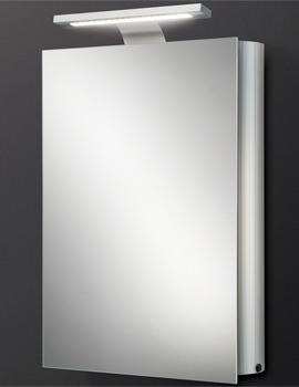HIB Electron Single Door Aluminium Mirrored Cabinet With LED Over-light