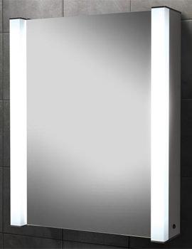 HIB Velocity Single Door Illuminated Aluminium Mirrored Cabinet 605 x 750mm