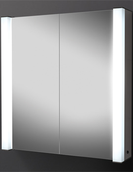 Photec Double Door Illuminated Aluminium Mirrored Cabinet 725 x 750mm