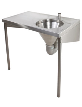 SS 1000 x 600mm Disposal Hopper And Worktop - Top Inlet