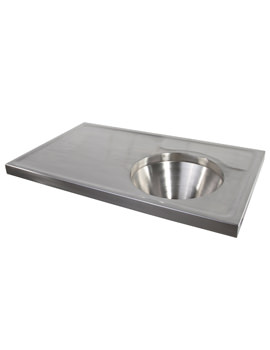 SS 1000 x 600mm Disposal Hopper And Worktop - Back Inlet