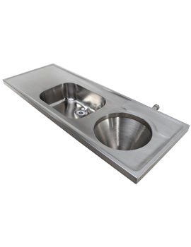 SS 1600 x 600mm Disposal Hopper-Sink And Worktop - Back Inlet