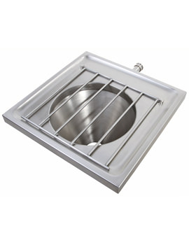 SS Wall Mounted Disposal Hopper With Grating - Back Inlet