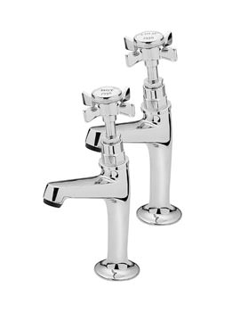 Imperial Chrome Pair Of High Neck Pillar Taps - 1079