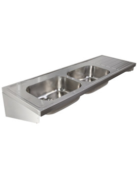 Stainless Steel 1800 X 600mm Double Bowl Single Drainer Sink