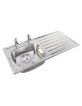 SS Stainless Steel 1028 x 500mm 2 Tap Hole Inset Sink And Drainer