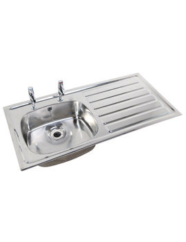 SS Stainless Steel 1028 x 500mm Inset Sink And Drainer With Overflow