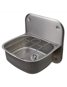 Stainless Steel 500 x 400mm Wall Hung Bucket Sink With Splashback
