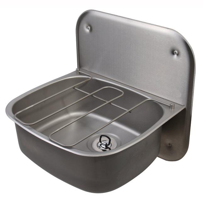 Twyford ss 500 x 400mm wall hung bucket sink with splashback for Metal bucket sink