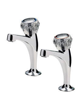Capri Pair of High Neck Pillar Taps With Clear Heads