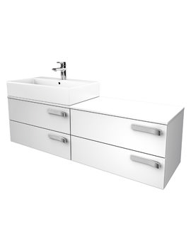 Strada 1400mm Left Hand Basin Storage Unit Gloss White
