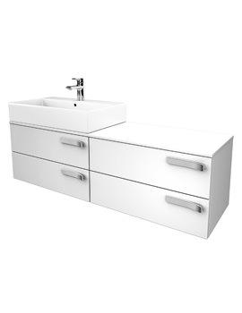 Strada 1400mm Left Hand Basin Storage Unit Gloss White