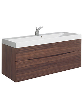 Glide II 1000mm Wall Hung Basin Unit American Walnut