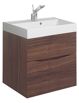 Glide II 500mm Wall Hung Basin Unit American Walnut